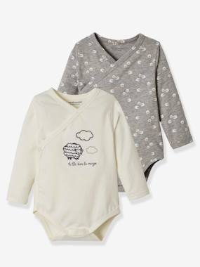 Baby-Bodysuits & Sleepsuits-Pack of 2 Stretch Cotton Bodysuits for Newborns