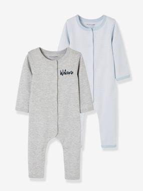 Baby-Bodysuits & Sleepsuits-Pack of 2 Footed Bodysuits