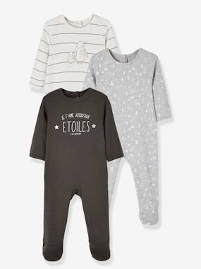 Vertbaudet Collection-Baby-Pack of 3 Velour All-in-Ones for Babies, with Press-Studs on the Back
