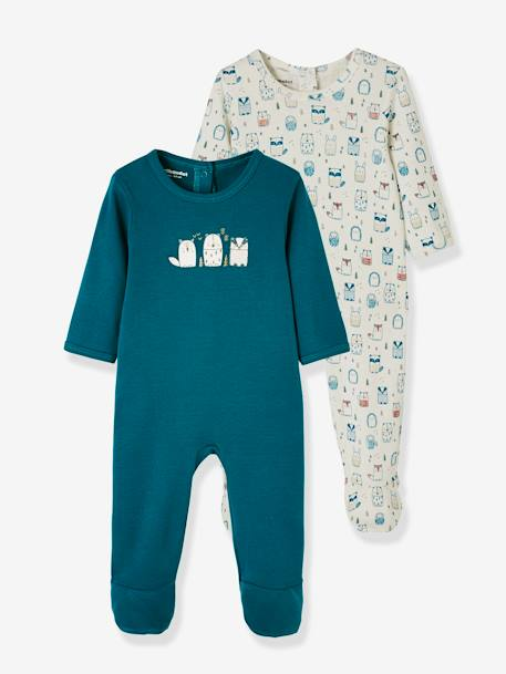 Pack of 2 Cotton Sleepsuits for Babies, Press Studs on the Back WHITE LIGHT TWO COLOR/MULTICOL - vertbaudet enfant