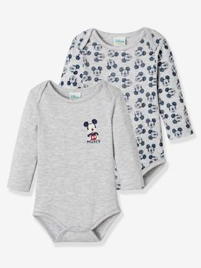 Baby-Bodysuits & Sleepsuits-Pack of 2 Long-Sleeved Mickey® Bodysuits, for Babies