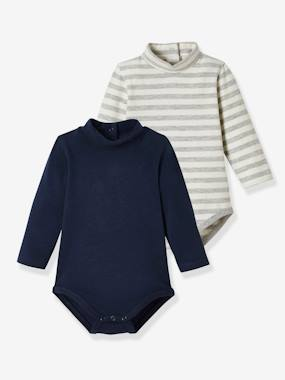 Baby-T-shirts & Roll Neck T-Shirts-Pack of 2 Bodysuits for Babies, High Neck, Long Sleeves