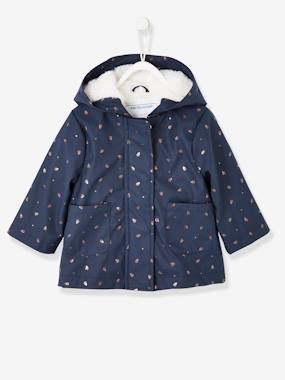 Coat & Jacket-Raincoat with Plush Lining, for Baby Girls