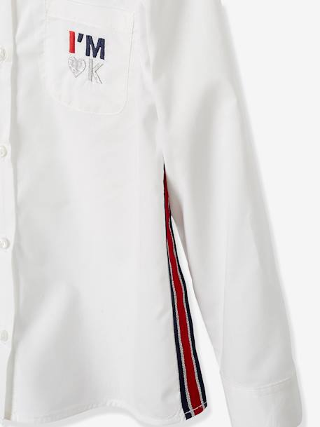 Shirt with Iridescent Stripes on the Sides, for Girls WHITE LIGHT SOLID WITH DESIGN - vertbaudet enfant
