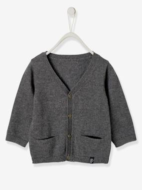 Vertbaudet Basics-Baby-Jumpers, Cardigans & Sweaters-Cardigan with Decorative Pockets for Baby Boys