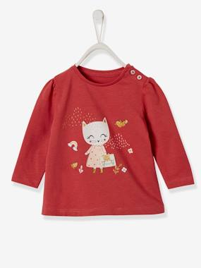 Baby-T-shirts & Roll Neck T-Shirts-T-shirts-Top with Cute Appliqués, for Baby Girls