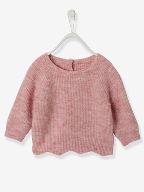 Baby-Jumpers, Cardigans & Sweaters-Rib Knit Jumper, Scalloped Hem, for Baby Girls